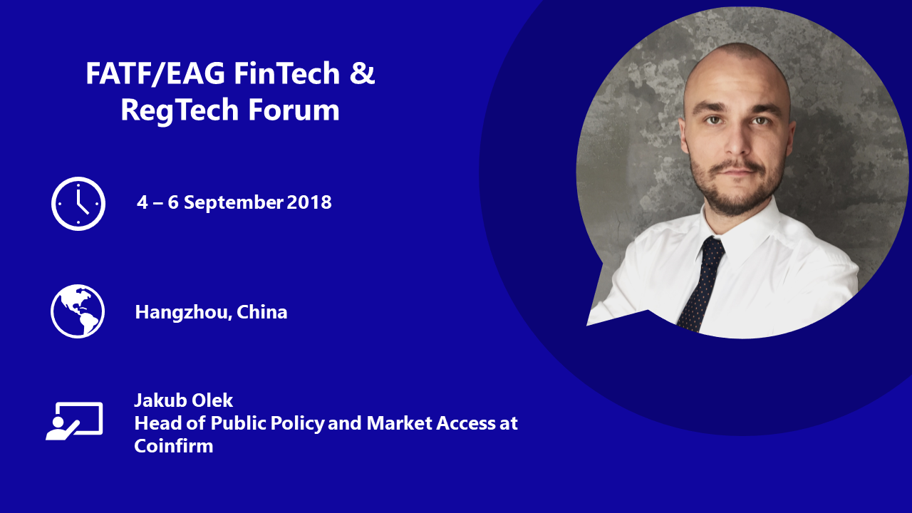 Coinfirm presenting AML monitoring solutions for cryptocurrencies at Joint FATF/EAG Forum of Fintech-Regtech, Hangzhou