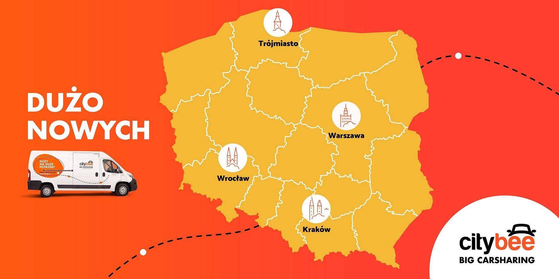 CityBee w kolejnych miastach! Dostawczaki na minuty dostępne w Krakowie i Trójmieście.