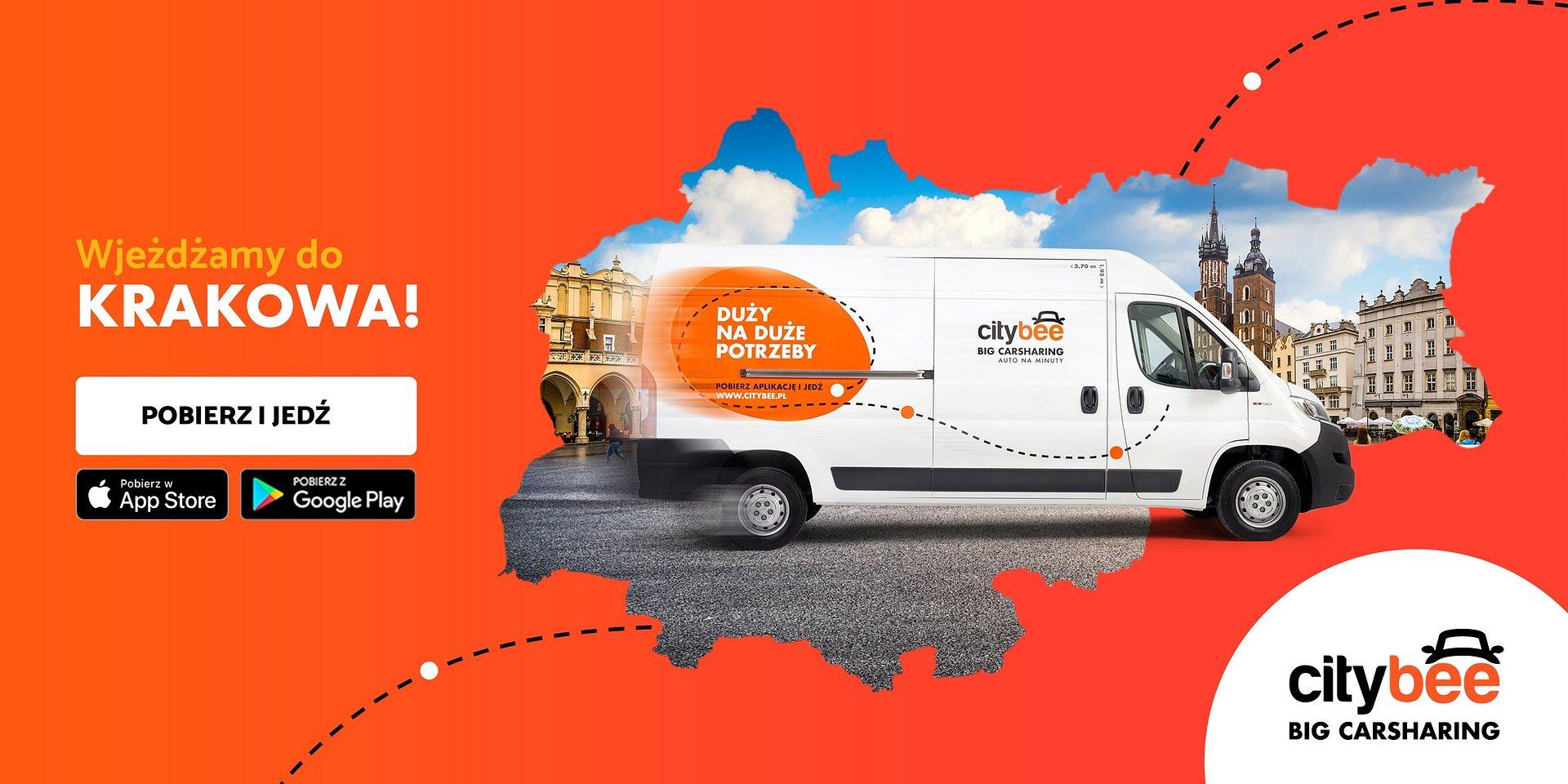 CityBee dostępne w Krakowie! Startuje wynajem dostawczaków na minuty
