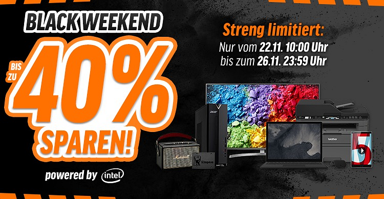 Bereits ab Donnerstag – 5 Tage Black Weekend Powershoppen bei notebooksbilliger.de