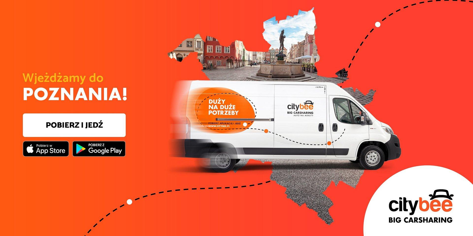 CityBee wjeżdża do Poznania! Startuje wynajem dostawczaków na minuty