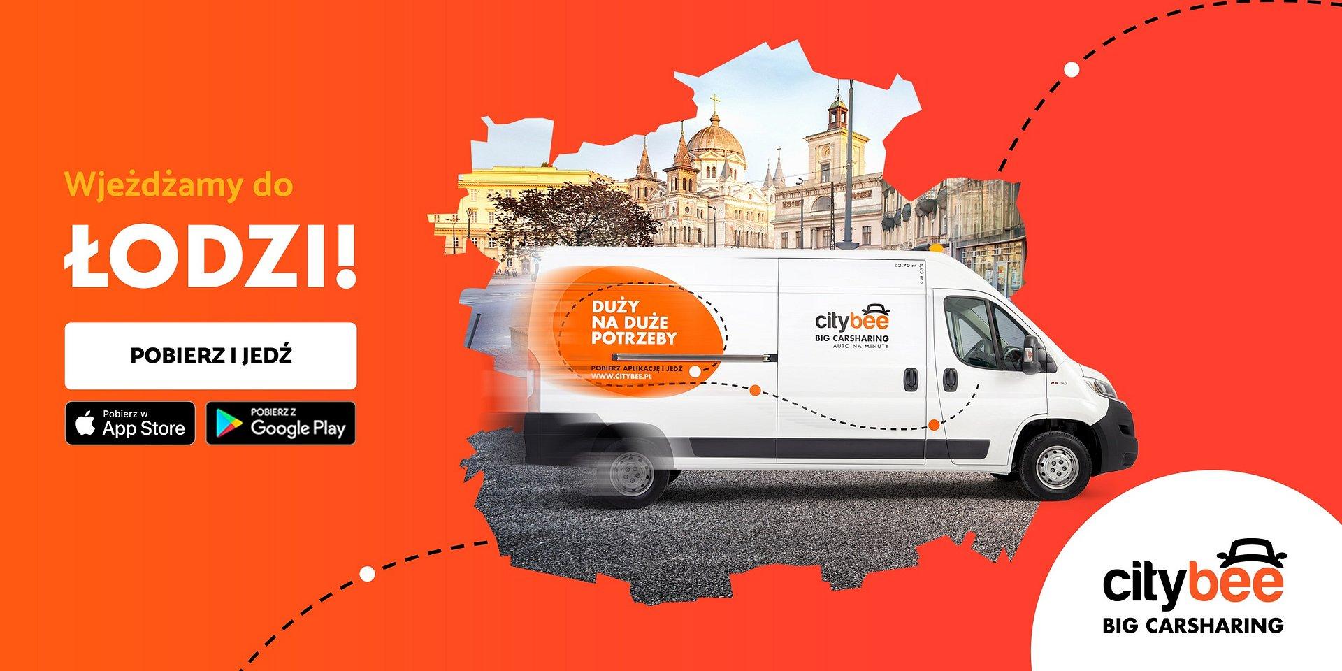 CityBee wjeżdża do Łodzi! Startuje wynajem dostawczaków na minuty