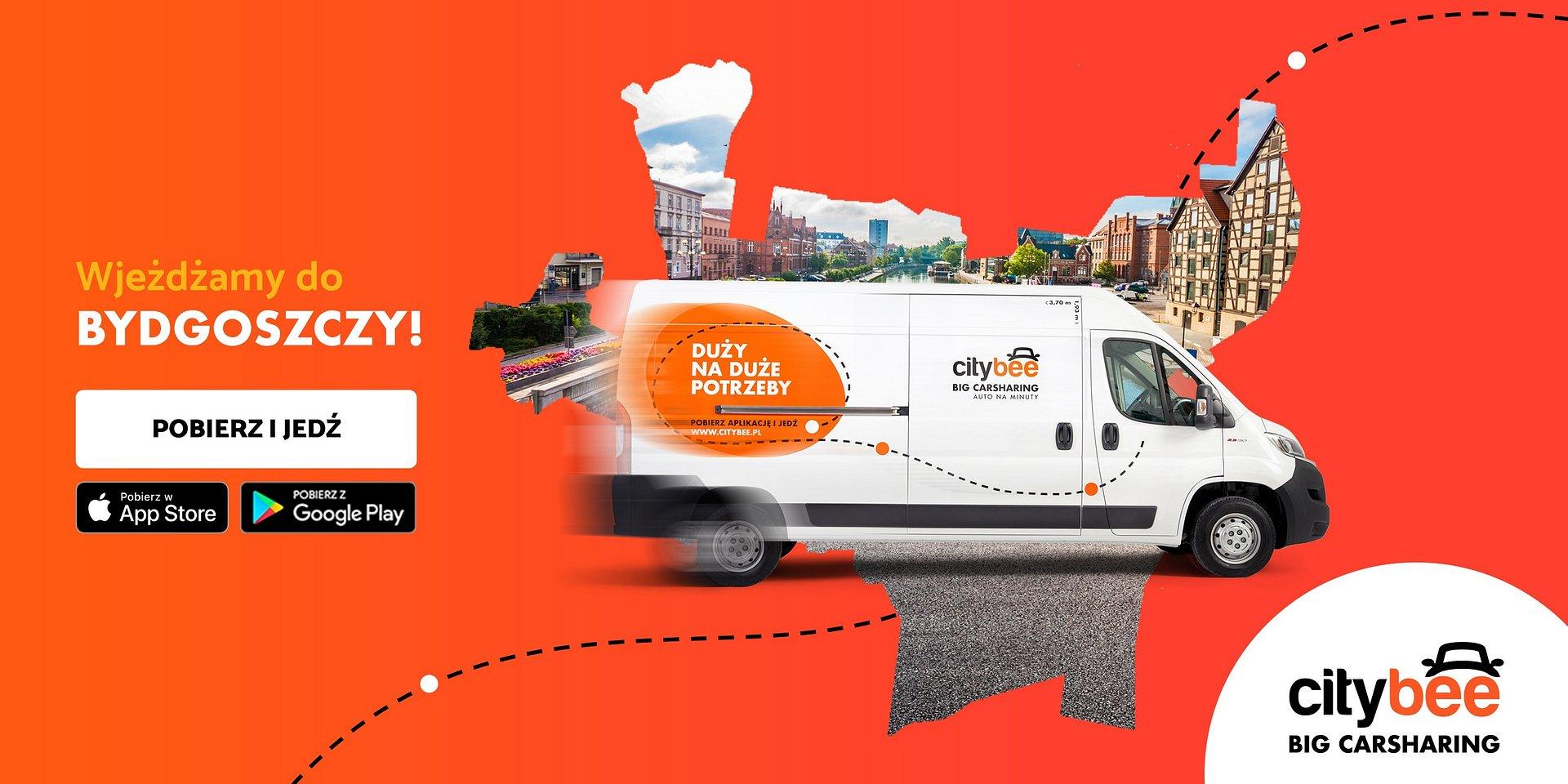 CityBee wjeżdża do Bydgoszczy! Startuje wynajem dostawczaków na minuty!