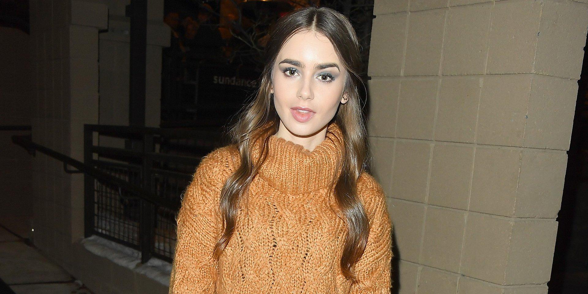 SPOTTED: Lily Collins wybrała ciepły sweter od MANGO