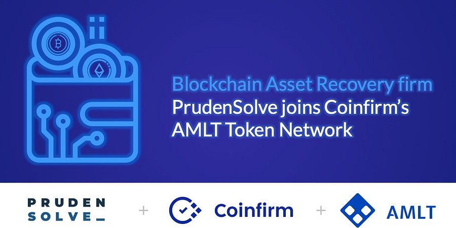 Blockchain Asset Recovery firm PrudenSolve joins Coinfirm's AMLT Token Network