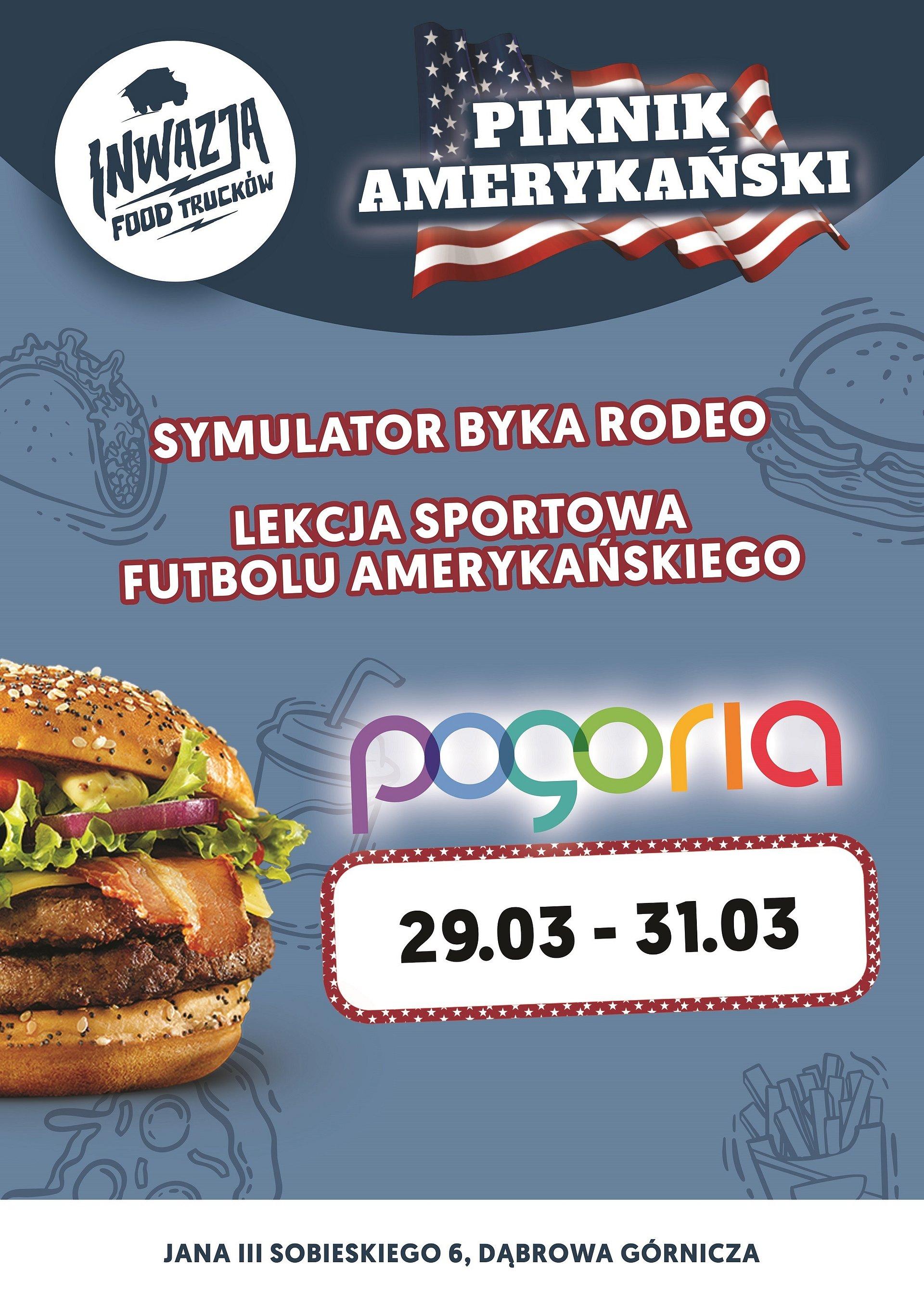 Amerykański piknik w galerii Pogoria, czyli food trucki, rodeo i lekcje futbolu!