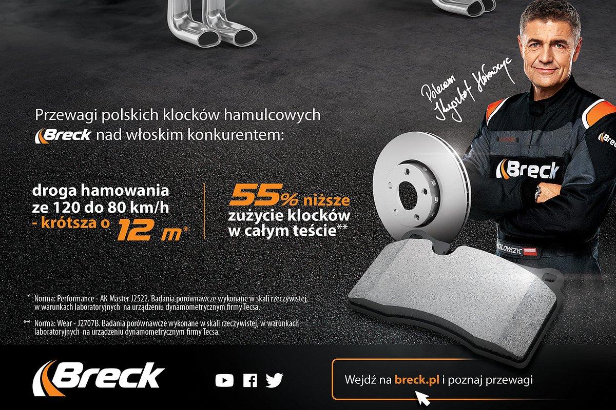 Marka Breck mocno akcentuje światową jakość swoich klocków hamulcowych