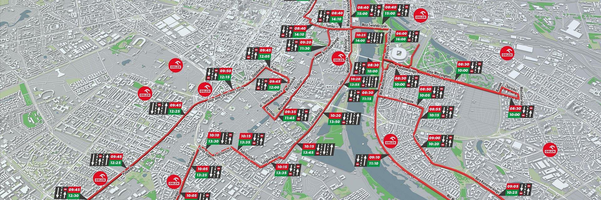 ORLEN Warsaw Marathon - utrudnienia w ruchu, zmiany komunikacyjne
