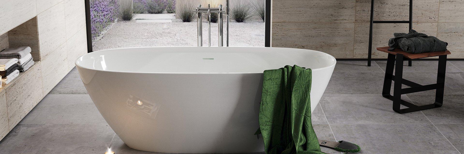 Ariane i Raina, niepowtarzalne wanny kompozytowe Roca. Oryginalny design, niezwykle miłe i ciepłe w dotyku.