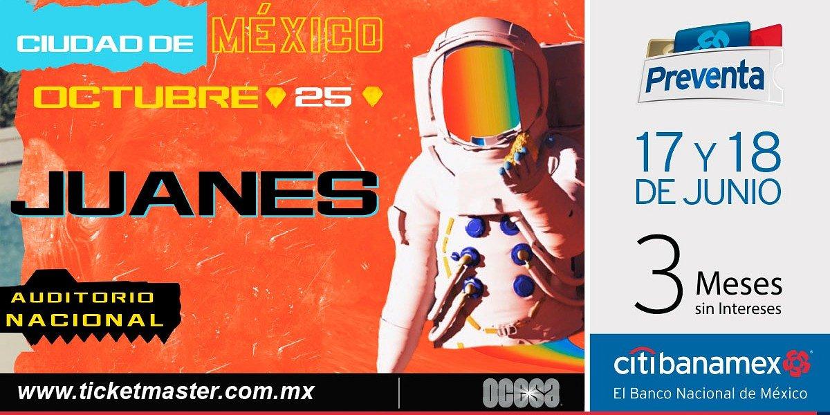 Juanes llegará en octubre al    Coloso de Reforma