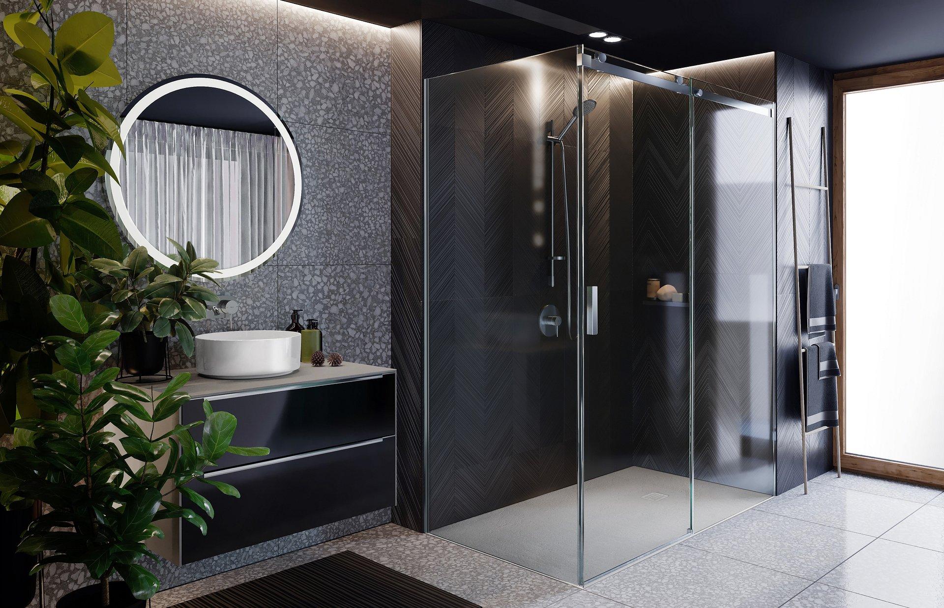 Salon kąpielowy z kabiną prysznicową Area Roca tworzą przestrzeń luksusu zapraszając do relaksu.
