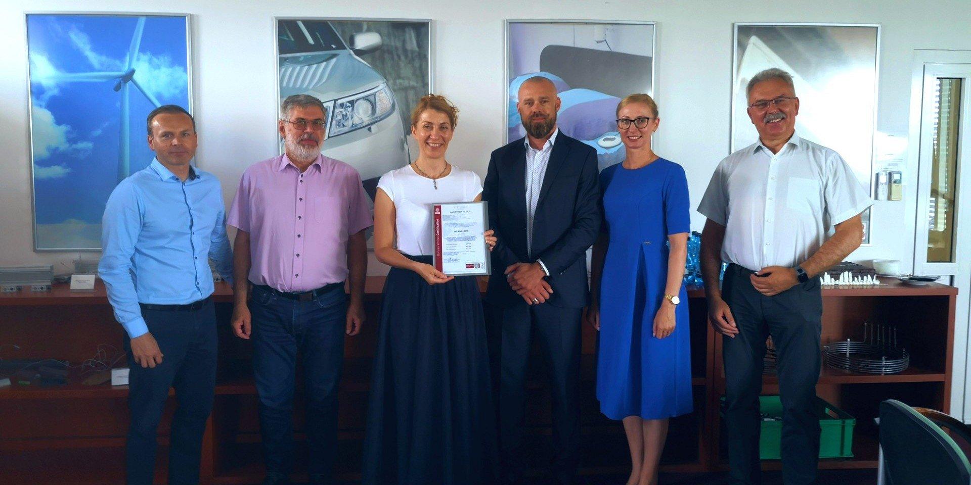 Firma Backer OBR certyfikowała system zarządzania BHP w oparciu o normę ISO 45001