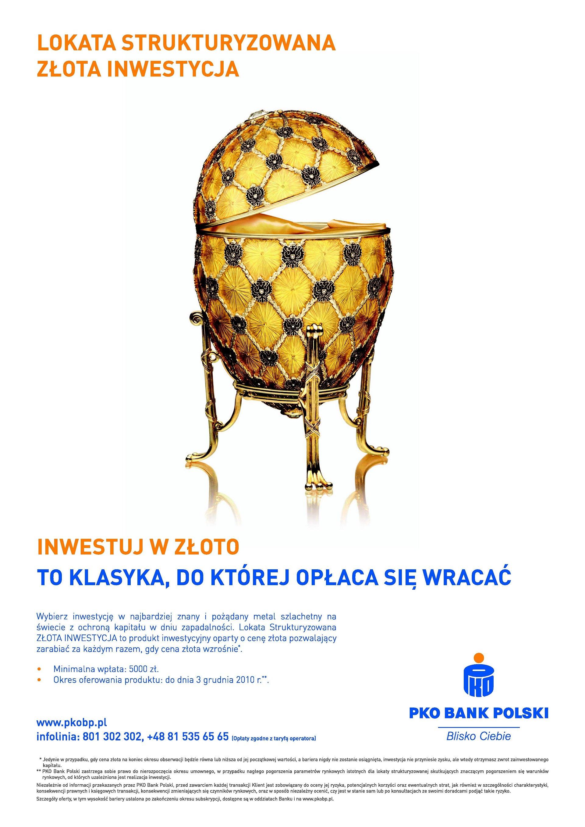 Lokata strukturyzowana oparta o cenę złota w ofercie PKO Banku Polskiego