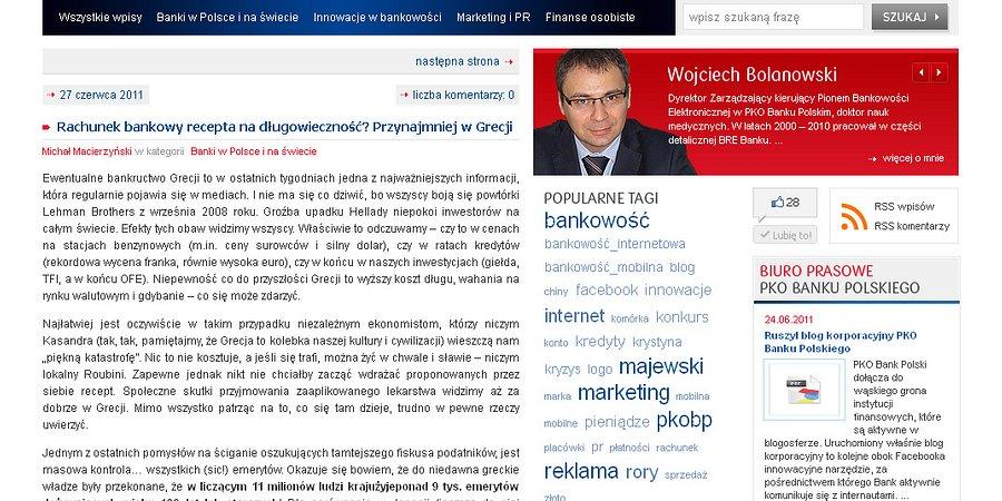 Ruszył blog korporacyjny PKO Banku Polskiego