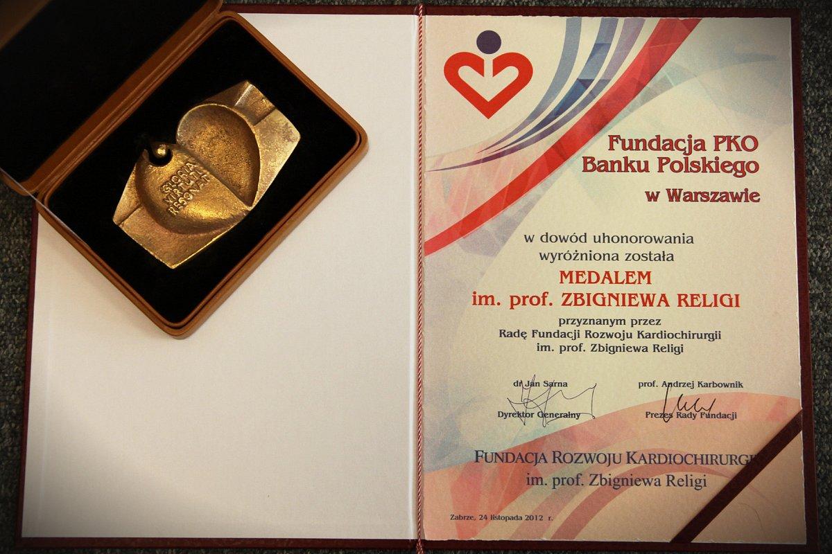 Medal im. Prof. Zbigniewa Religi dla Fundacji PKO Banku Polskiego