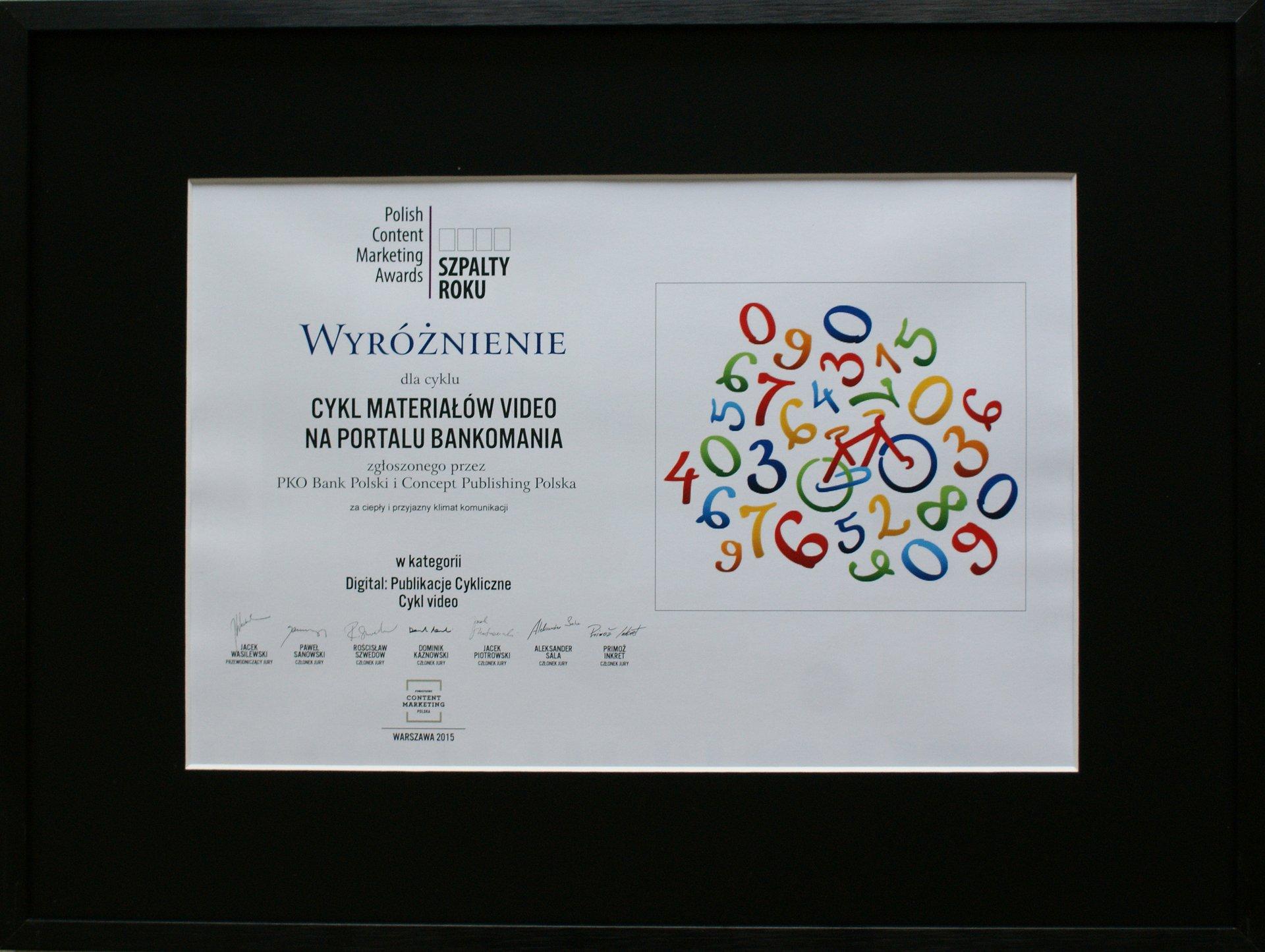 Bankomania nagrodzona w konkursie Polish Content Marketing 2015