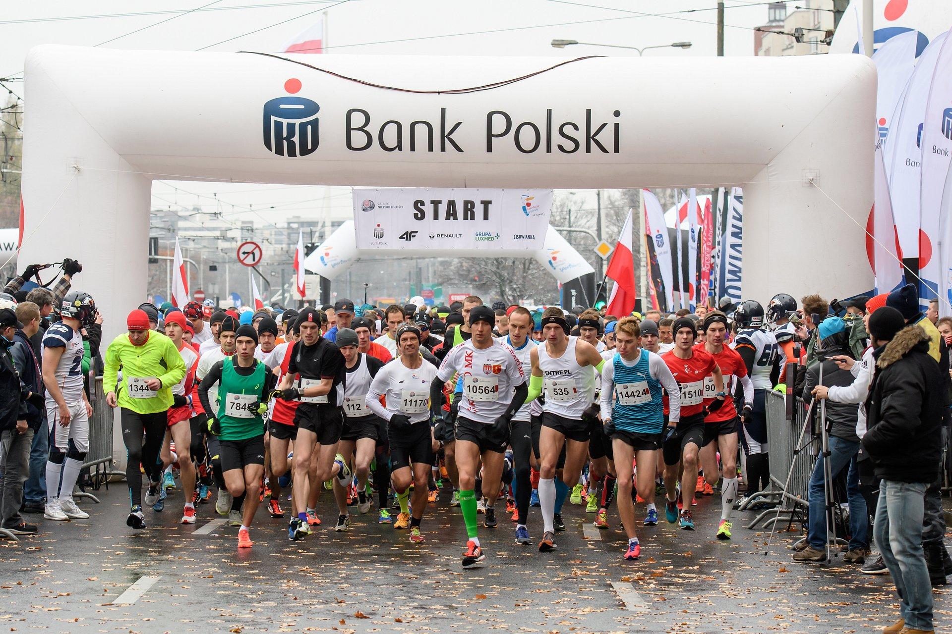 Ponad 12 tysięcy zawodników na mecie warszawskiego Biegu Niepodległości z PKO Bankiem Polskim