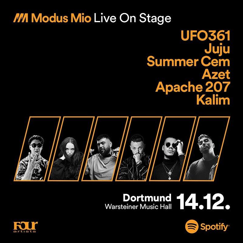 Modus Mio Live ist ausverkauft – Spotify bringt Ufo361, Juju, Summer Cem, Azet, Kalim und Apache 207 auf die Bühne