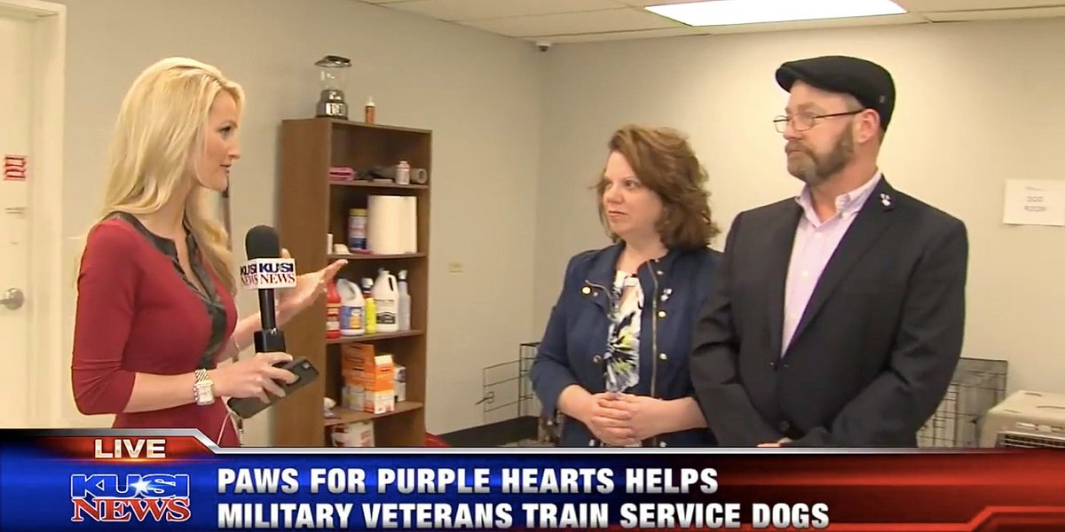 KUSI Evening News Showcases Paws for Purple Hearts Grand Opening