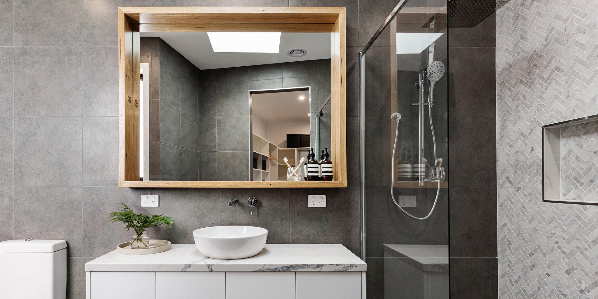 Nowoczesna łazienka z laminatami kompaktowymi