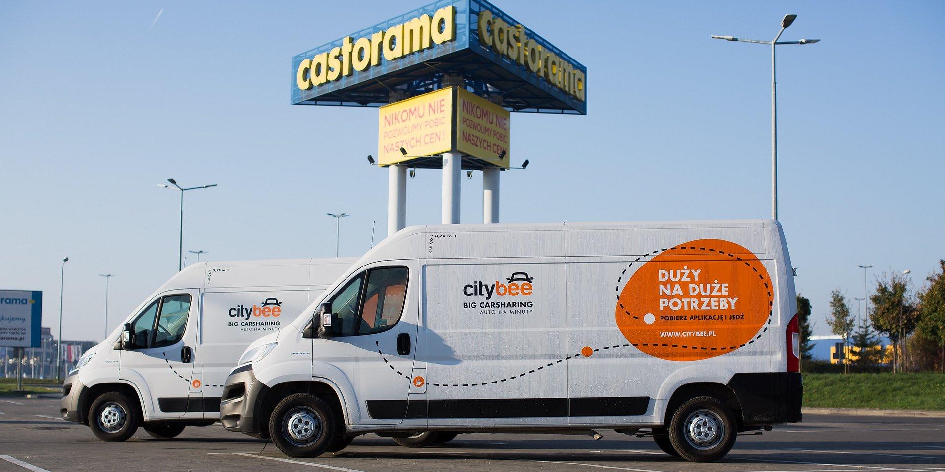 CityBee na parkingach sklepów Castorama w Krakowie