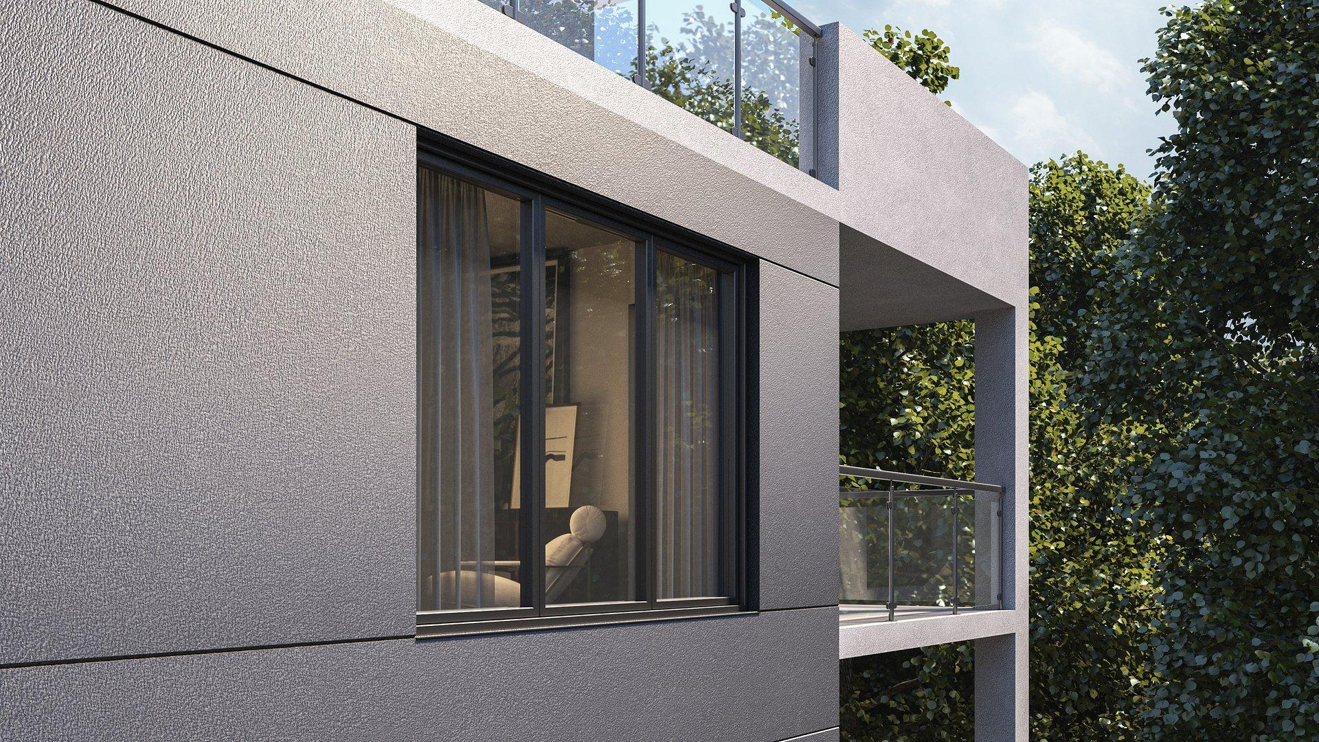 Nowoczesna i atrakcyjna elewacja z efektami metalu oraz betonu