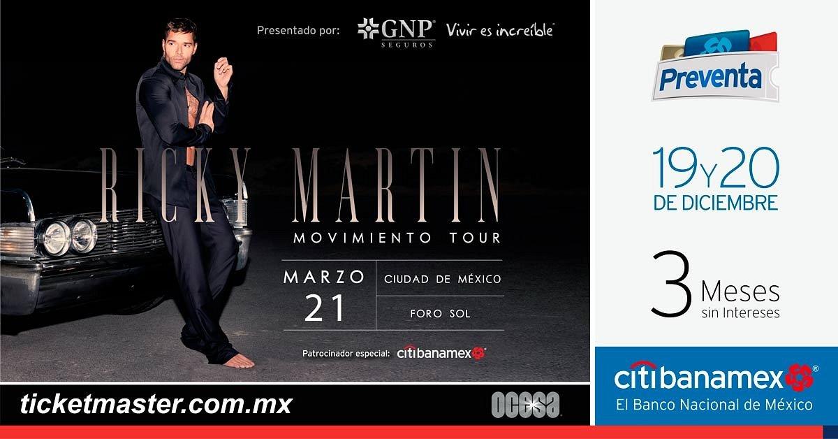RICKY MARTIN ANUNCIA GIRA POR MÉXICO