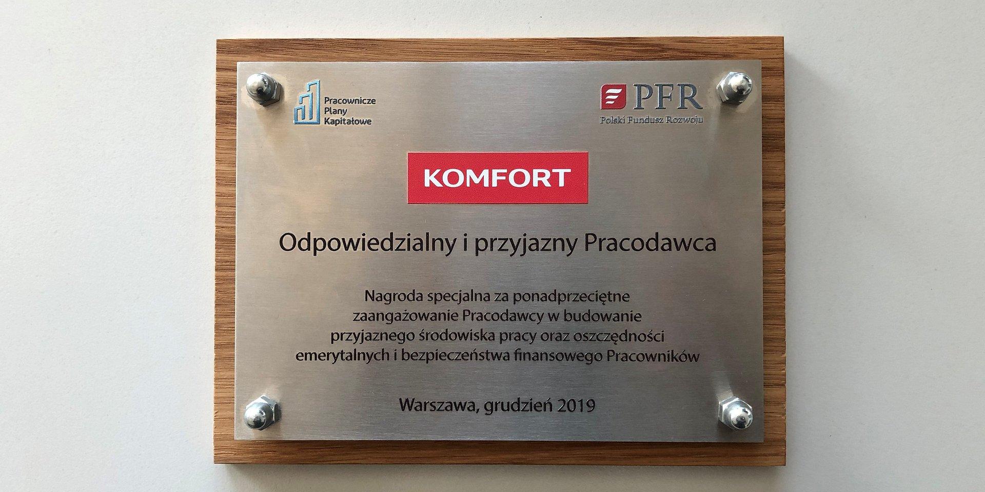 SKLEPY KOMFORT ODPOWIEDZIALNYM I PRZYJAZNYM PRACODAWCĄ. Nagroda Polskiego Funduszu Rozwoju za efektywne wdrożenie PPK