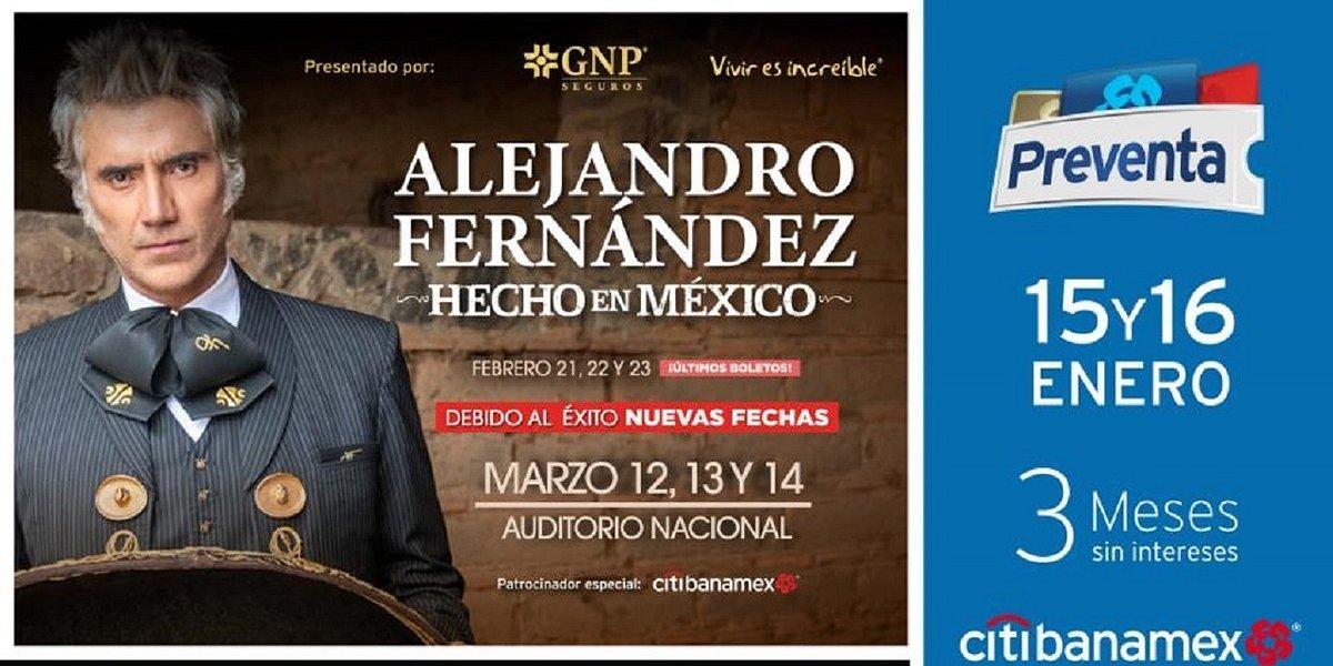 Alejandro Fernández anuncia tres nuevas fechas en el Auditorio Nacional