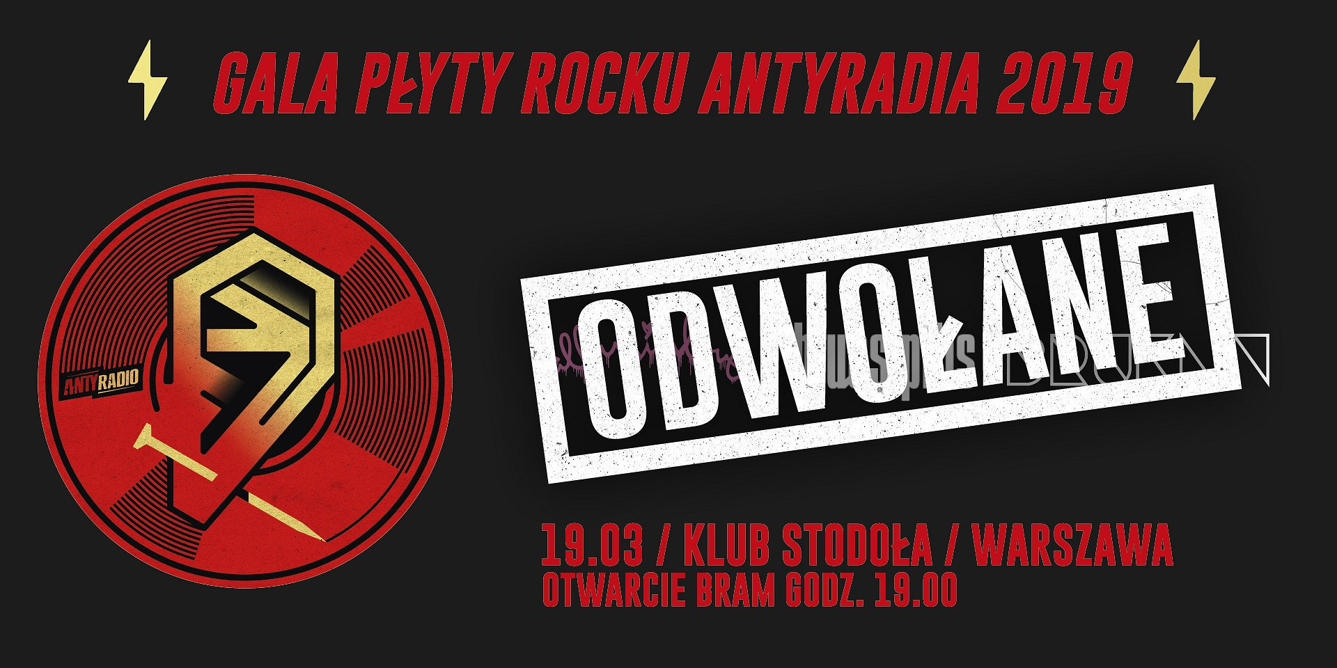 """Gala """"Płyty Rocku Antyradia 2019"""" - odwołana"""