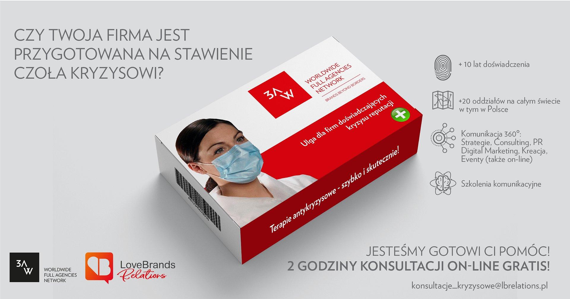Sieć 3AW i LoveBrands Relations promują swoje usługi antykryzysowe kampanią w kanałach społecznościowych. W Polsce LoveBrands Relations oferuje do 2h konsultacji on-line gratis