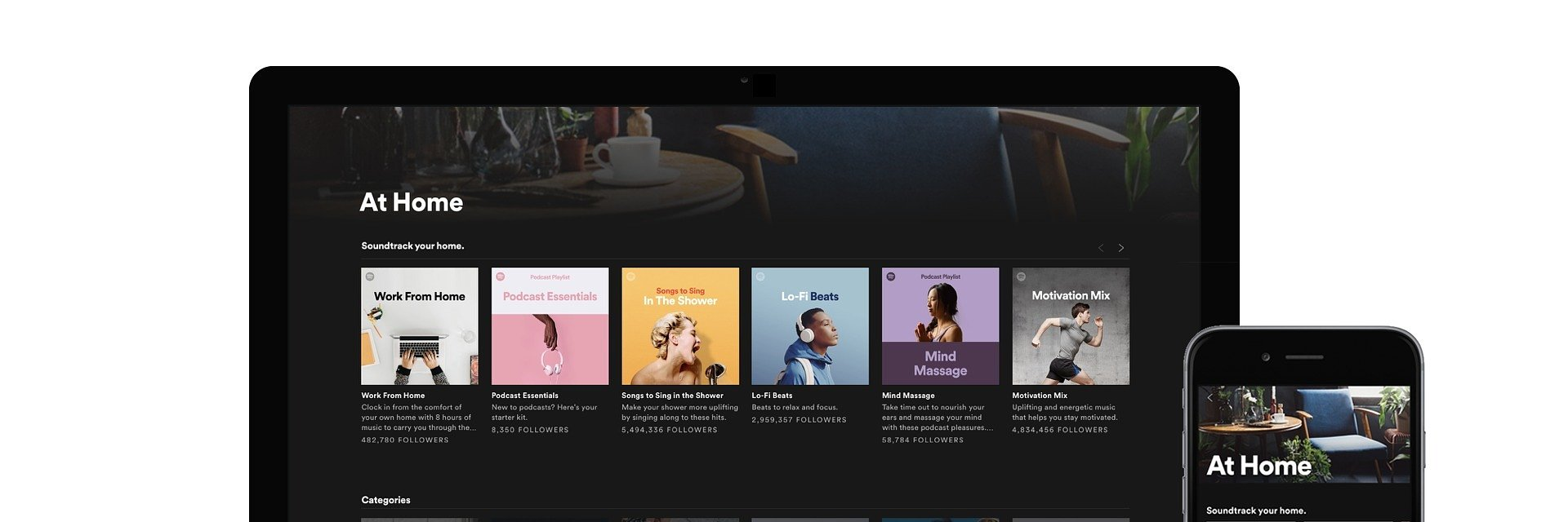 """Spotify prezentuje """"W Domu"""" - nową zakładkę z najpopularniejszymi playlistami"""