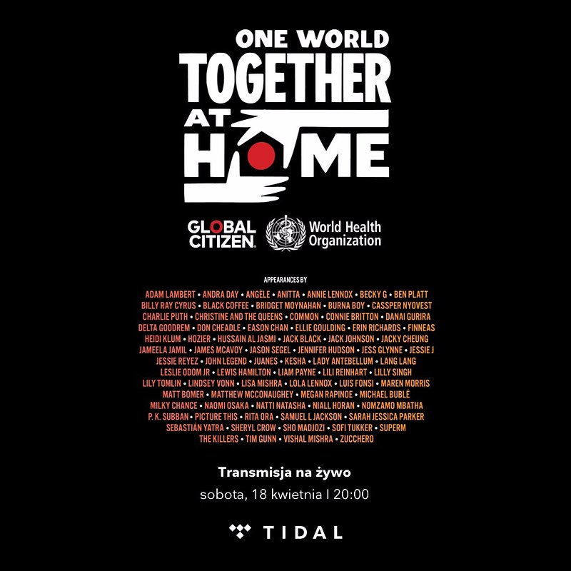 Transmisja na żywo koncertu One World: Together At Home w TIDAL