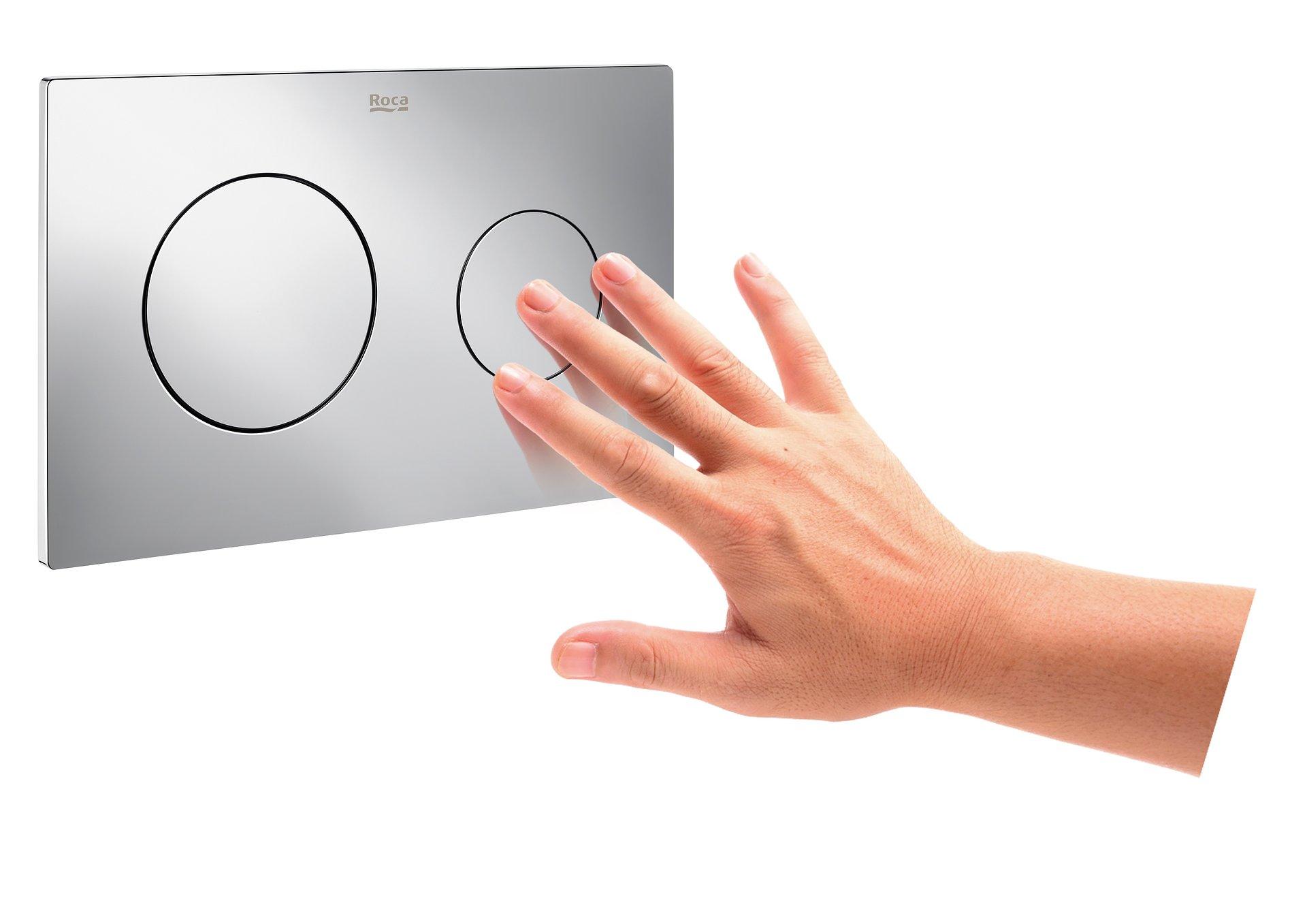 Ze stelażami wc Duplo One Roca zyskasz więcej miejsca w łazience, a nowe przyciski będą niezapomnianą ozdobą.