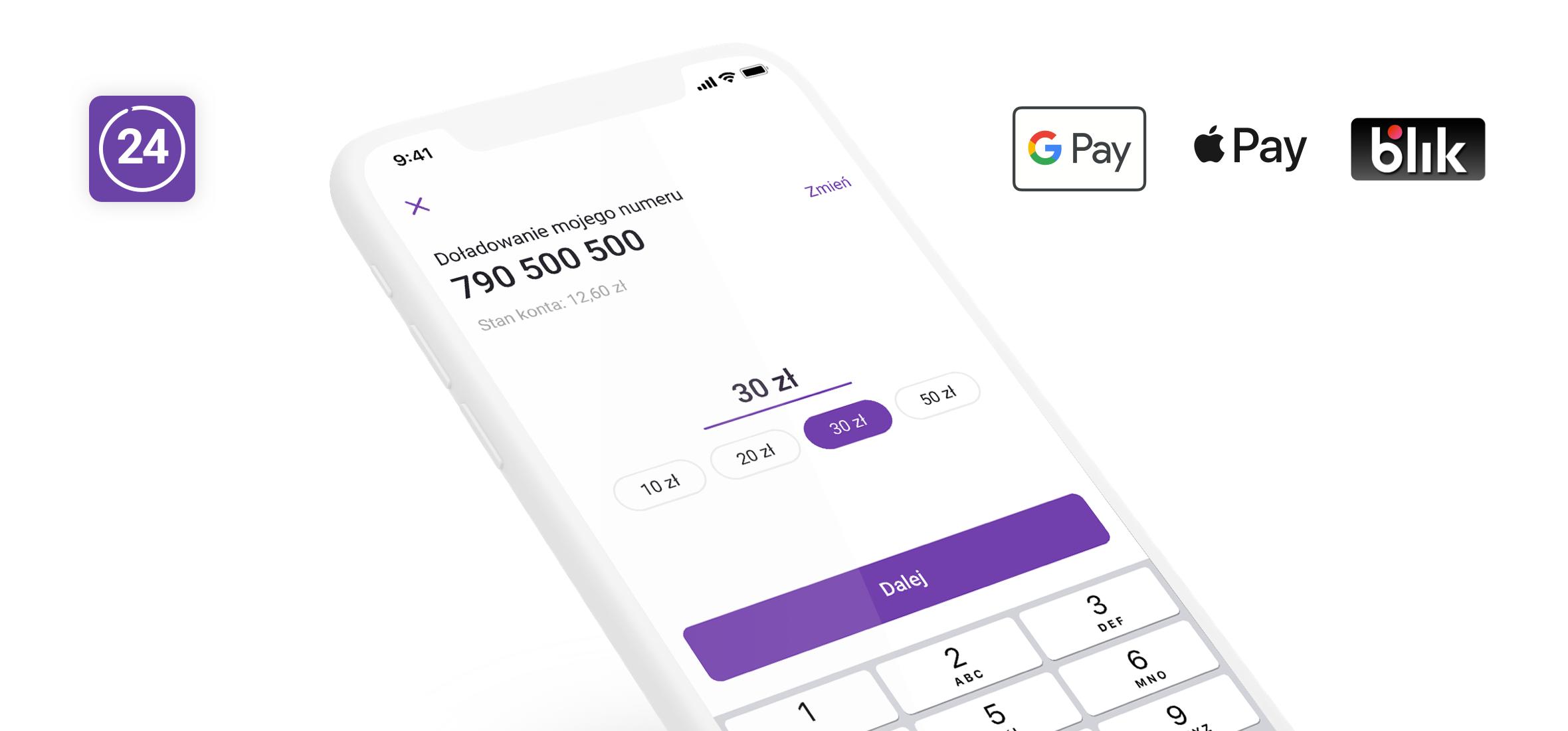 W Play24 doładujesz konto za pomocą Apple Pay i Google Pay